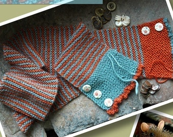 Buttons and Stripes Hand Knit Scarf Pattern - ONLINE DOWNLOAD Version