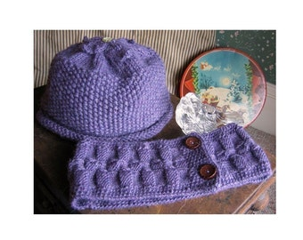 Lavender Hat and Scarf Knitting Pattern ONLINE DOWNLOAD
