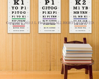Knitter's Eye Chart (TM) Knitter Gift Idea Set of 3 As Seen in Vogue Knitting and Interweave Knits Holiday Gifts 2011 12 x 18 Inch Prints
