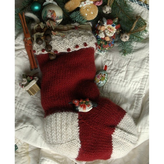Knitting Pattern Christmas Bells : Jingle Bells Hand Knit Christmas Stocking Knitting by ILiveonaFarm
