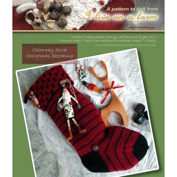Online Knitting Patterns To Download : Chimney Top Hand Knit Christmas Stocking Knitting Pattern ONLINE DOWNLOAD fro...