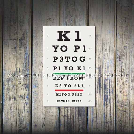 Knitters Eye Chart (TM) Knitter Gift Idea As Seen in Vogue Knitting and Interweave Knits 12 x 18 Inch Print Lace Stitch Pattern Design