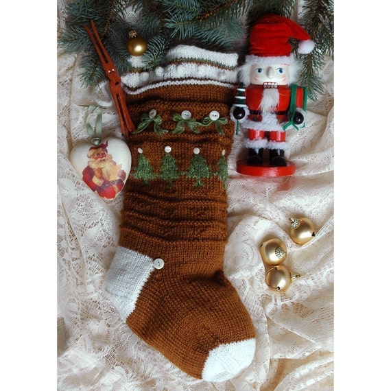 Knit Pattern Christmas Stocking : Ginger Snap Hand Knit Christmas Stocking Pattern ONLINE