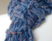 SALE Denim Blue Scarf, Long Muddy River Girl Scarves, Hand Knitted, Hand Made