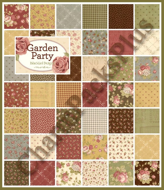 Garden party moda charm pack quilt fabric squares for Garden party fabric by blackbird designs