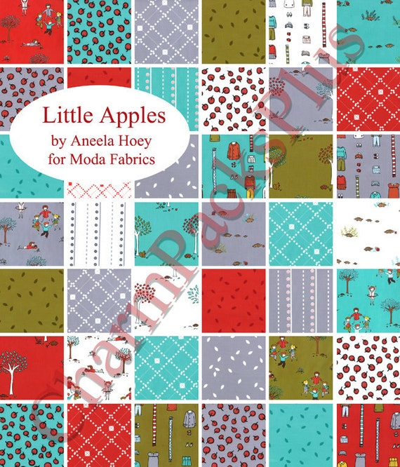 Moda LITTLE APPLES Charm Pack - Five Inch Quilt Fabric Squares - 18510PP