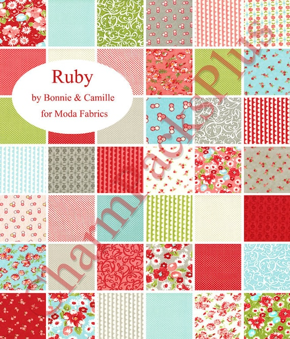ruby moda charm pack quilt fabric squares by bonnie and