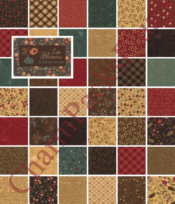 Late Bloomers Moda Charm Pack 5 Quilt Fabric Squares