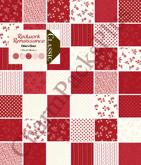 REDWORK RENAISSANCE Moda Charm Pack - 42 five inch Quilt Fabric Squares  - red white