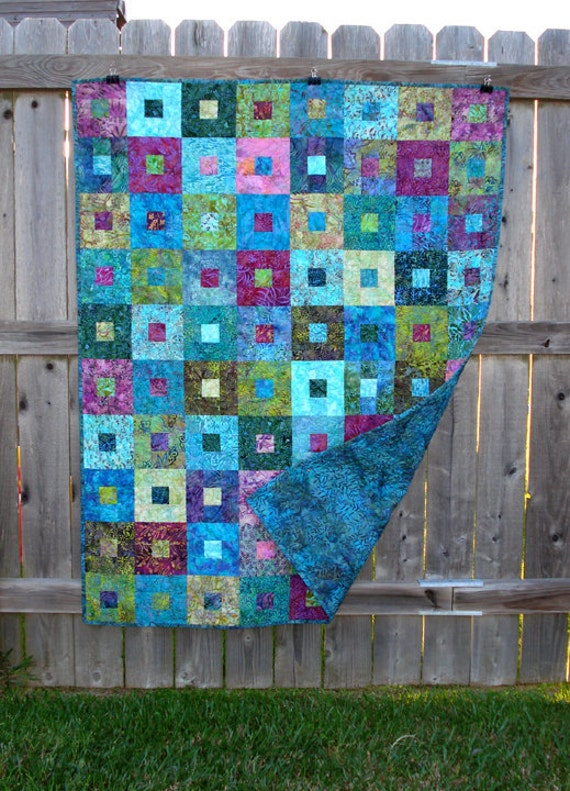 Batik Lap Quilt Blue Aqua Purple Green Blanket Coverlet