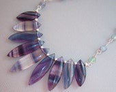 Fluorite Pedal Beads and Wire Wrapped Fluorite Beads Necklace