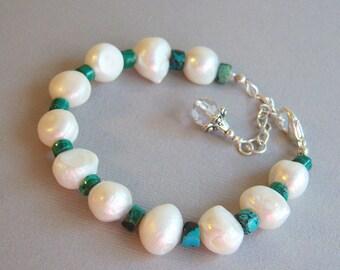 Pearls and Malachite Bracelet