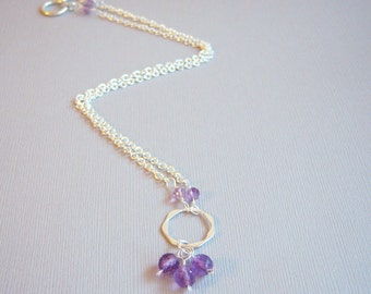 Faceted Amethyst Beads, Wire Wrapped to Sterling Ring, Necklace