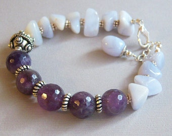 Faceted Amethyst and Blue Lace Agate with Silver Bracelet