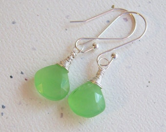 Bright Green Chalcedony Wire Wrapped Earrings
