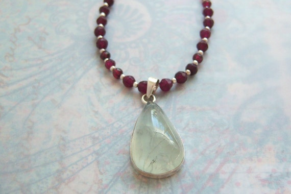Faceted Garnet Necklace with Prenite Pendant