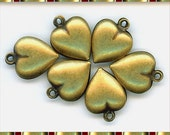 Heart charms, brass heart charms, 6 brass hollow charms