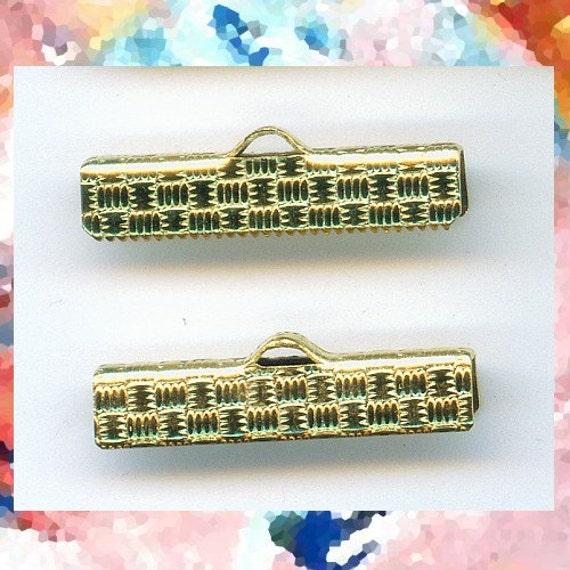 Brass bracelet ends, crimp ends, ribbon crimp ends 1 inch