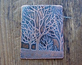 the forest etched pendant- RESERVED FOR LU
