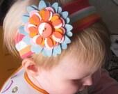 Tropical Garden - Wool Blend Felt Flower Headband Headwrap