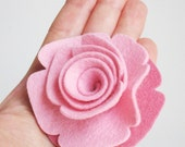 Large Wool Felt Rose Flower Hair Clip Barrette or Pin - ANY COLOR OF YOUR CHOICE