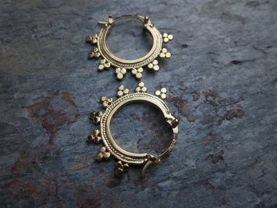 Tribal Hoops in Gold Plate