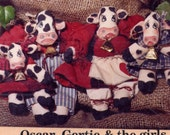 "Vintage Miniature Cow Family Dolls Sewing Pattern--Oscar, Gertie and the Girls--6.5"" and 4"" Soft Dolls"