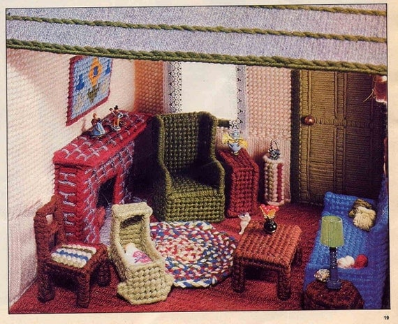 Vintage Plastic Canvas Dollhouse Patterncharming Cottage And