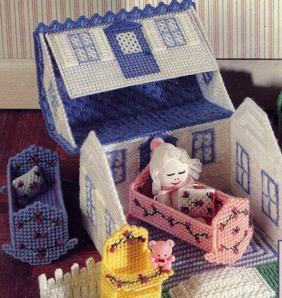 Pack N Go Playhouse Plastic Canvas Carry Along Dollhouse and Furniture Pattern with Tiny Sock Dolls