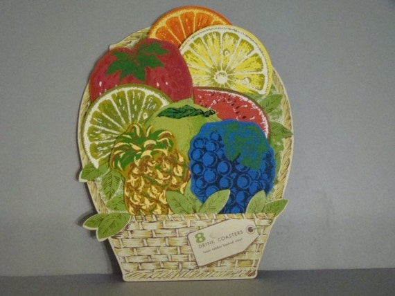 Vintage Coasters Fruit Drink Beach Party Barware Tropical