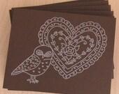 SALE Brown Owly Valentine Card Set
