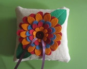 Felt Flower Lavender and Buckwheat Hull Ring Pillow