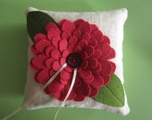 Pink Felt Flower Lavender and Buckwheat Hull Ring Pillow