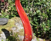 XL Cherry Red Glass Leaf Garden Art Sculpture Outdoor Decoration Glass Garden Finial
