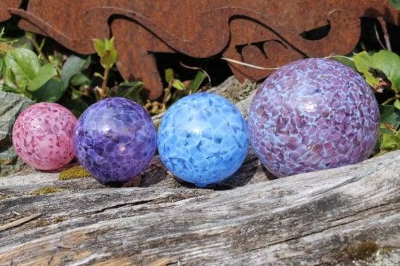 Set of 4 Hand Blown Glass Floats or Koi Fish Pond Balls Shades of Purples,  Pink, Blue Garden Art Gazing Balls