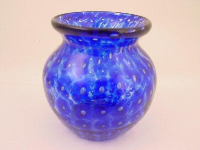 Cobolt Blue Hand Blown Glass Flower Vase With Unique Pattern