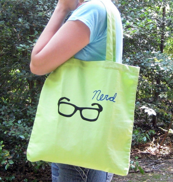 Nerd Glasses Lime Green Tote Bag - SALE - Was 14, Now 8