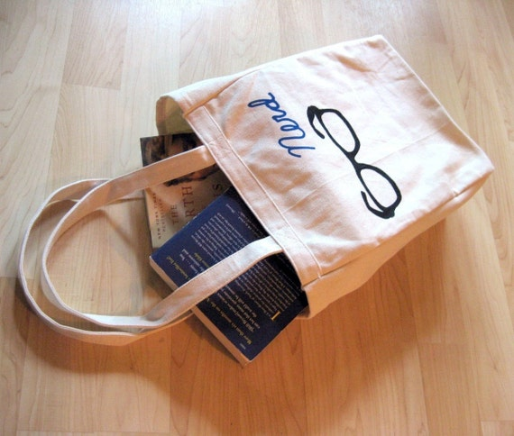 Nerd Glasses Sturdy Book Tote Bag - SALE - Was 19, Now 10