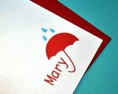 Personalized Umbrella Notecards-Set of 12
