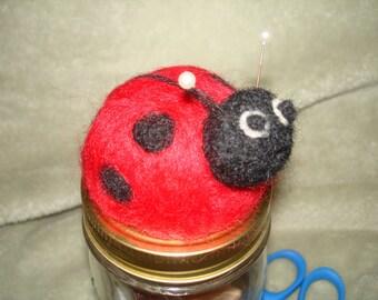 Needle Felted Ladybug Pincushion - Mason Jar