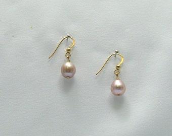 Pink Teardrop Pearl Earrings