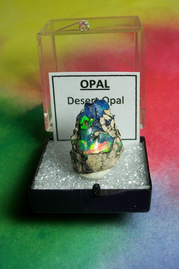 NEON RAINBOW OPAL GEODE NATURAL OPAL IN SPECIMEN BOX FROM ETHIOPIA RARE METAPHYSICAL COLLECTIBLE SALE ETSY HOLIDAY SALE