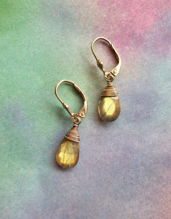 Sale GOLD FLASH Labradorite Oxidized Polished Sterling Silver Wire Wrapped Natural Faceted Gemstone Dangle Earrings On French Earring Wires