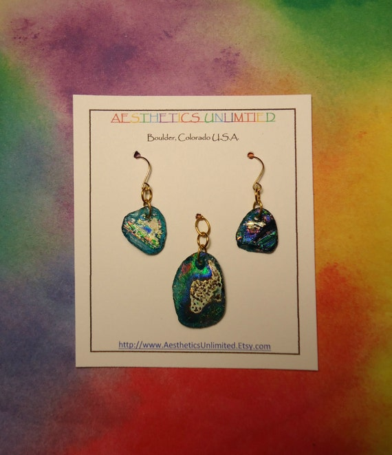 Ancient Roman Glass Pendant And Earring Set With Colorful Rainbow Patina 1000 - 3000 Year Old Ancient Glass FREE Bead Cord