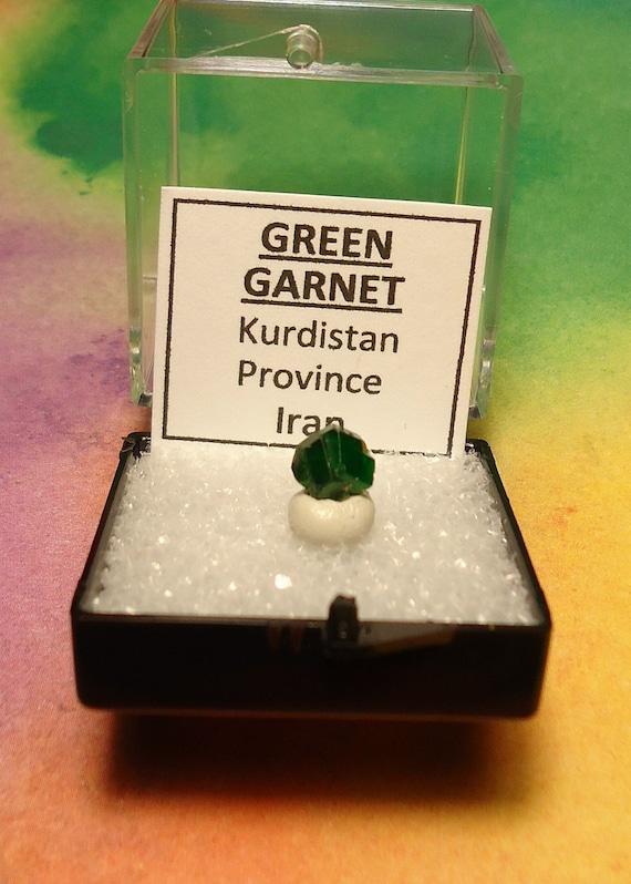 Rare GREEN GARNET Top Quality Natural Twin Demantoid Andradite Garnet Crystal In Perky Mineral Specimen Box From Iran