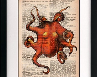 octopus print - octopus art print - vintage dictionary print - vintage dictionary page print - vintage book page print - 8x10