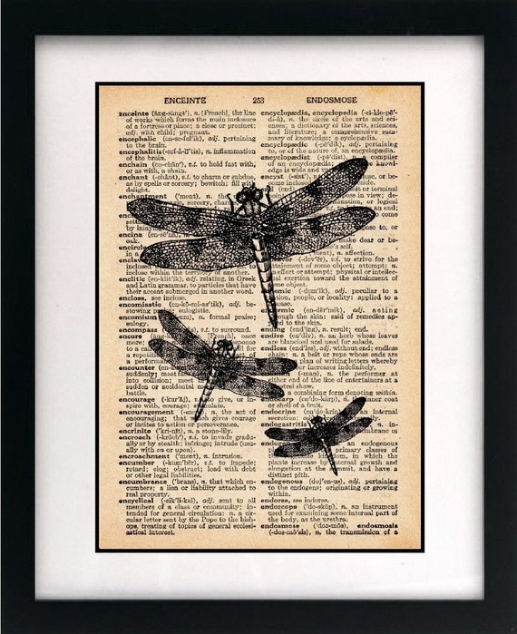 dragonfly art print on recycled book page - vintage dragonfly illustration art print - vintage home decor dictionary page art print - 8x10