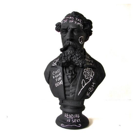 Chalkboard - Charles Dickens Graffiti Chalkboard Bust Sculpture - Home Decor Chalk Board - Unique Christmas Gift