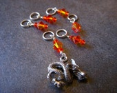 Fire Opal Dragon Stitch Markers