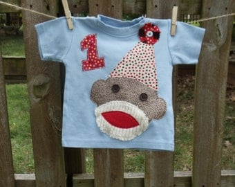Boys Custom Sock Monkey Birthday T-shirt with number year or initial   SIZES 6, 12, 18, 24mth, 2T, 4, 6, 8